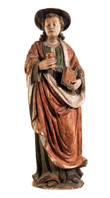 Höhe: 82 cm. Westdeutschland, Ende 16./ Anfang 17. Jahrhundert. Die beiden Zwillingsbrüder Cosmas und Damian (3. Jahrhundert) dienten als Ärzte in der Zeit...