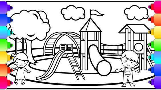 Visit Rainbowplayhouse Com To Print This Coloring Page Learn How To Draw And Color A Playground Coloring P Coloring Pages Disney Coloring Pages Coloring Books