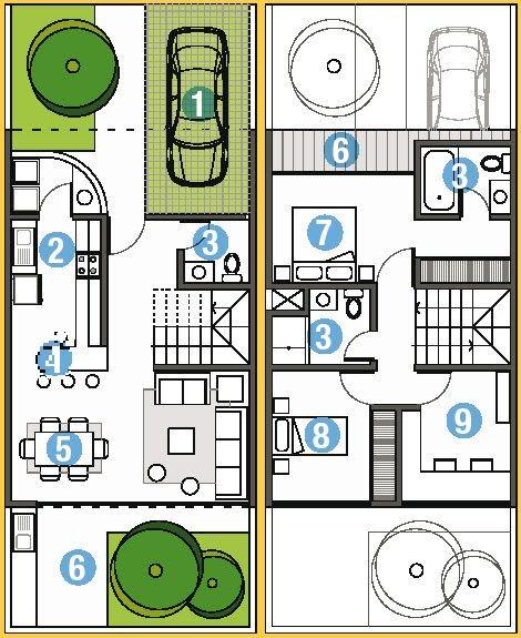 Planos de casa en 90m2 de terreno 6m x 15m planos de for Planos arquitectonicos de casas gratis