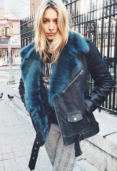 Perfect blue fur biker jacket.   Winter fashion   Pinterest