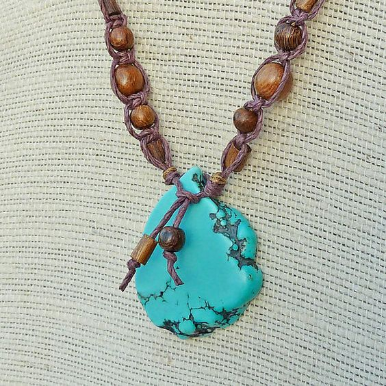 Howlite Nugget Necklace - Brown Macrame Necklace, Wood Beads, Turquoise Blue Howlite Flat Nugget