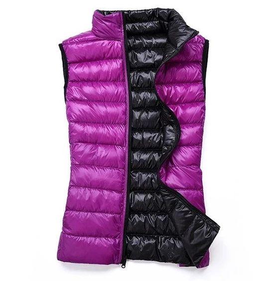 Cromoncent Men Vogue Sleeveless Puffer Thicken Zip-Front Vest Jackets Coat