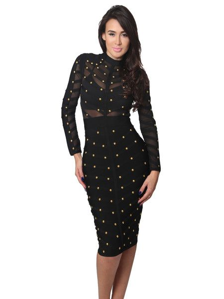 Nikoleta Black Studded Long Sleeve Mesh and Bandage Dress | Sleeve ...