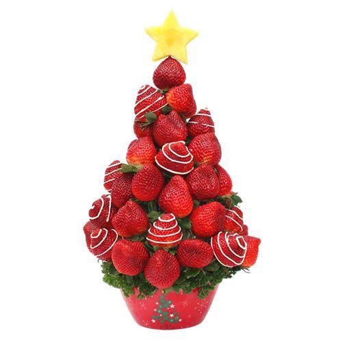 Rbol de fresas con chocolate blanco y estrella de pi a - Centros de mesa con pinas ...
