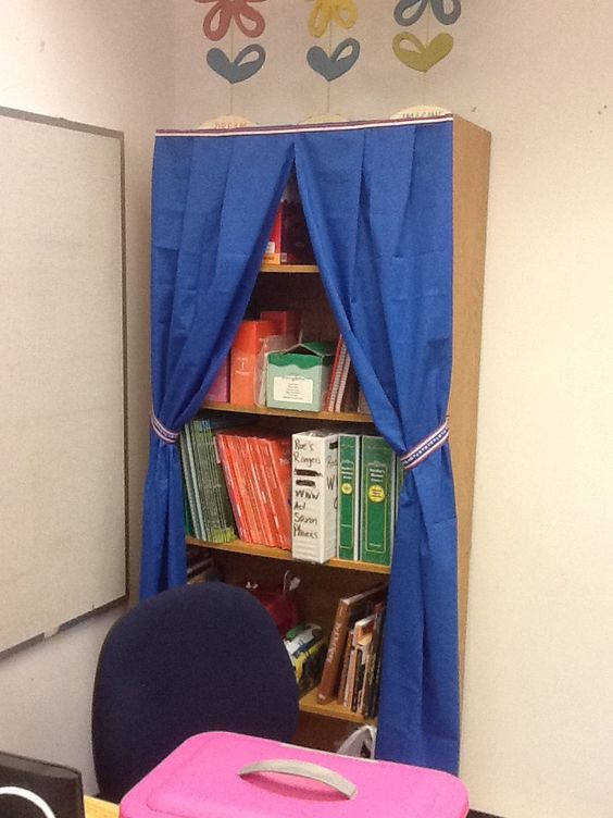 Curtains Ideas classroom curtain ideas : Use clearance sheets as a curtain for bookshelves. | Random crafts ...