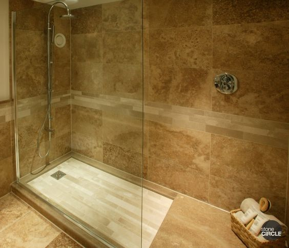 Wet rooms travertine and travertine tile on pinterest for Slate wet room