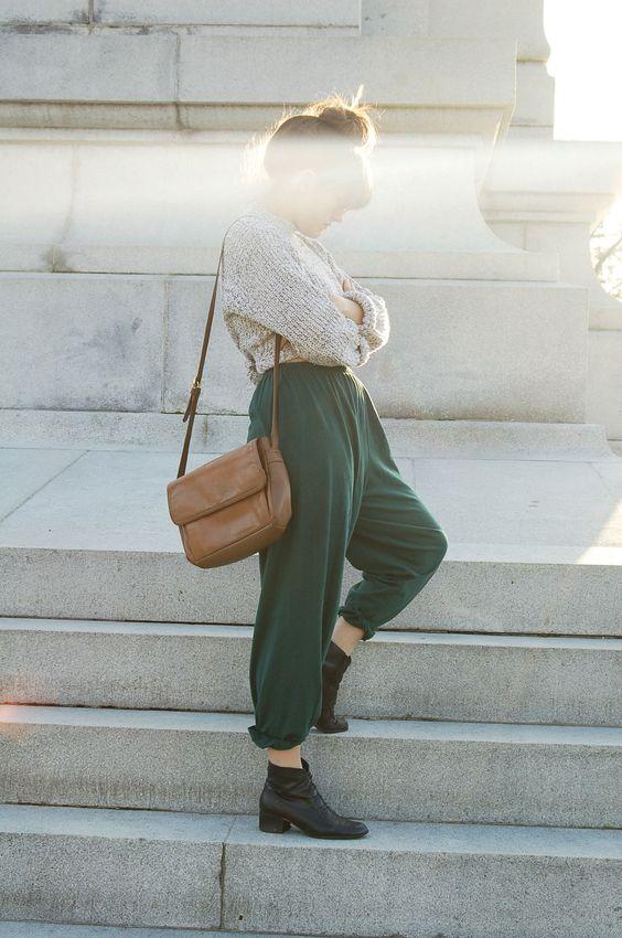 Warm jumper and loose fitting trousers. The perfect cosy, and chic, outfit.