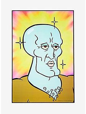 Spongebob Squarepants Handsome Squidward Wood Wall Art Spongebob Drawings Mini Canvas Art Spongebob Painting