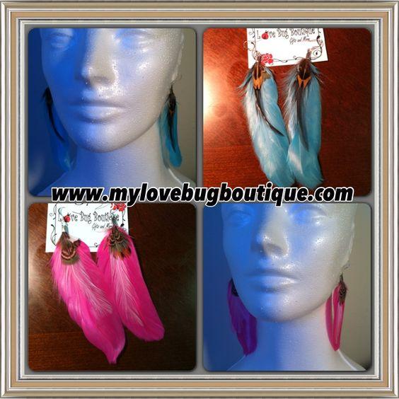 Large Feather Earrings $8.00  www.mylovebugboutique.com  #handmadeearrings #jewelryaddict #handmade #feathers #earrings #blue #pink #wwwmylovebugboutiquecom