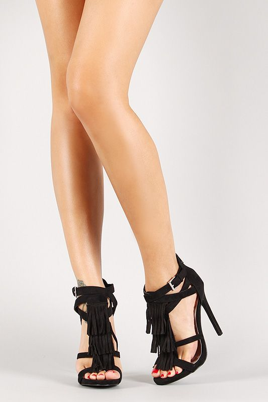 Qupid Faux Suede Strappy Fringe Stiletto Heel | beautiful clothing ...