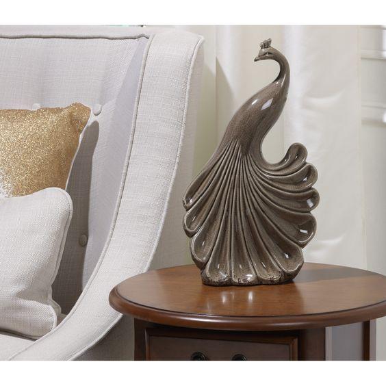 Bombay Heritage Ceramic Peacock Figurine: