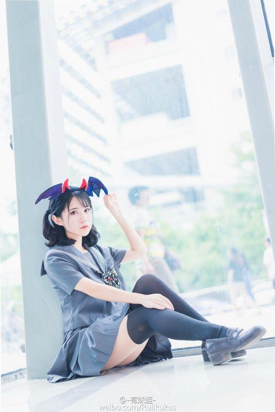 頭戴小蝙蝠髪飾 #水手服 #制服美少女 #瀏海 #長髮》#Cute #Girl #Pretty #Girls #漂亮 #可愛 #青春活力