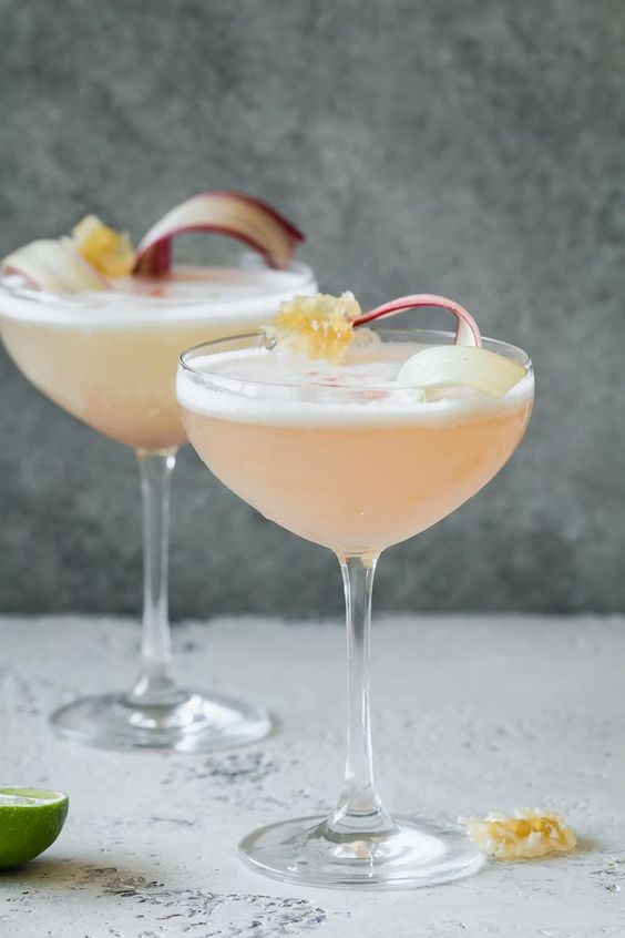 Rhubarb & Honey Pisco Sour Recipe | Le Petit Eats