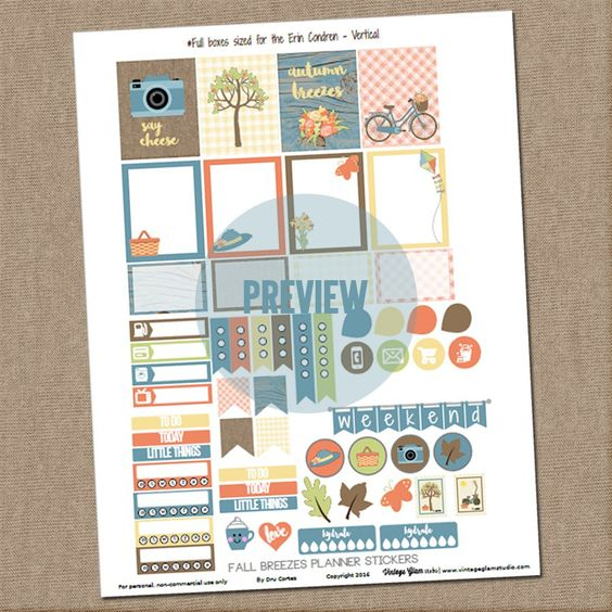 Free Fall Breezes Planner Stickers | Vintage Glam Studio
