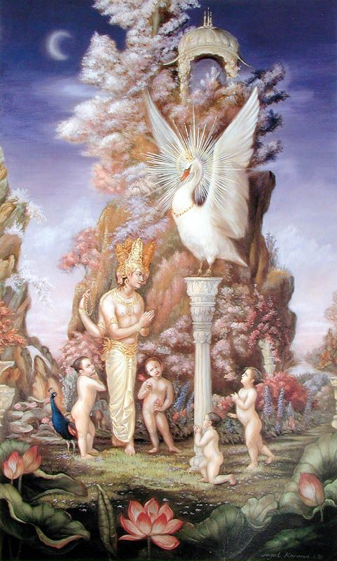 The tenth incarnation was Hamsa – the Swan form. Due to bewilderment, Brahma, could not answer some questions put forward by his sons. At that time the Lord appeared as a swan and answered the questions.