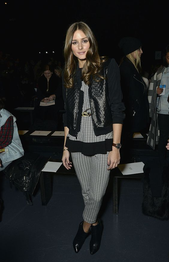 At the Tibi show in NYC, Olivia doubled up on checks by styling her matching Tibi separates with a quilted jacket and black ankle boots.