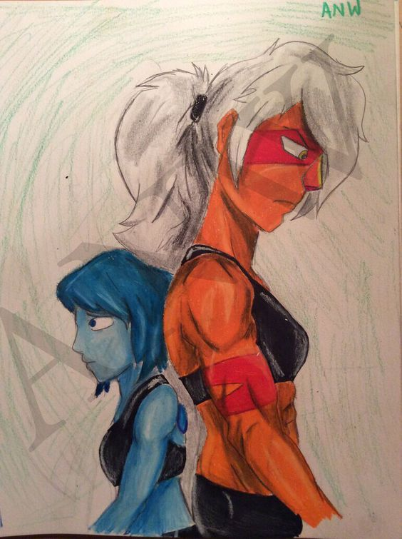 Jasper and Lapis, Steven Universe. Hand drawn by me, Abby Whittington
