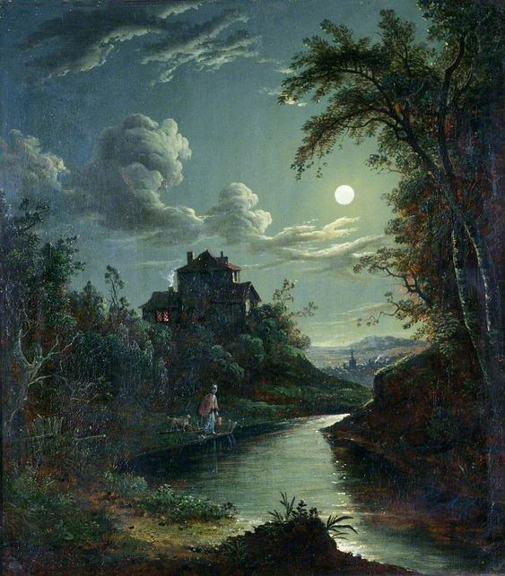 Abraham Pether (1756-1812) — A Landscape and River Scene : Government Art Collection, London. UK   (827x944):