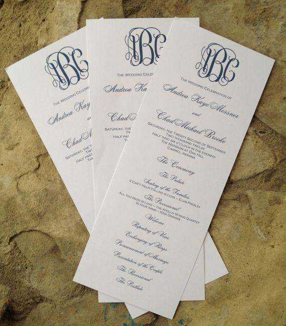 Custom Wedding Program Tea Length With Elegant Monogram Wedding Taylor P