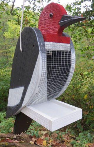 Downy hairy woodpecker bird feeder large handmade for Unique homemade bird feeders