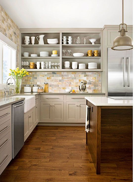 Kitchen backsplash design cabinets and tile on pinterest for Earthy kitchen ideas
