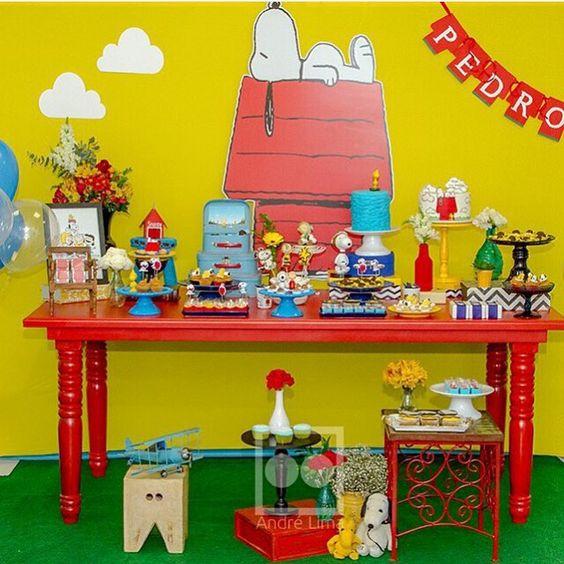 Adorei essa festa Snoopy, clean e fofa, por @dfdesigneventos! #kikidsparty: