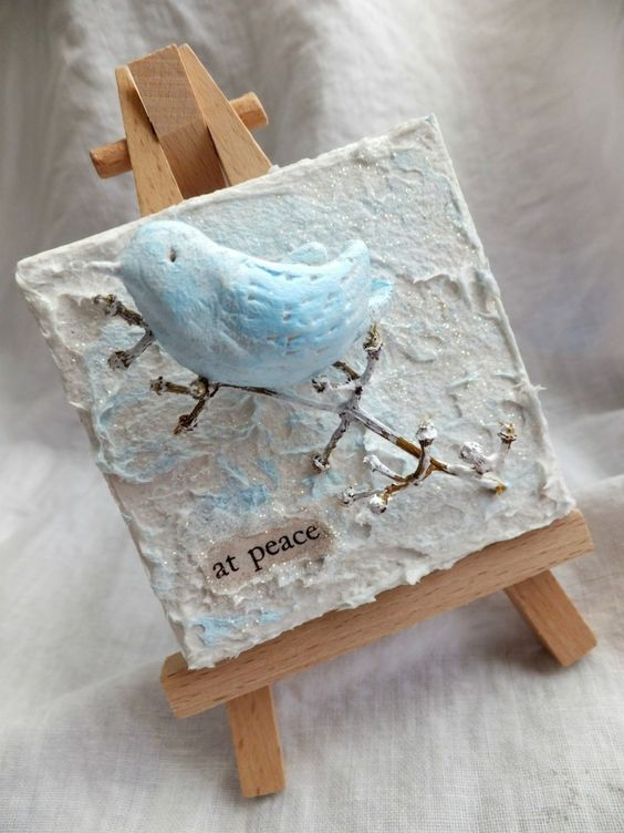 Mini canvases w fiber paste paper clay board and for Paper clay projects