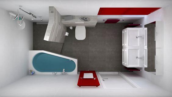 Badkamerontwerp met betegelde inloopdouche en schuin ligbad 360 view en gratis 3d ontwerp voor - Betegelde badkamer ontwerp ...