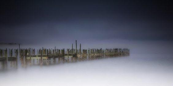Fine Art Print Foggy Misty Old Docks Wooden by photographybyVena, $40.00
