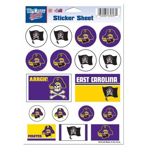 East Carolina-Pirate/State Logo Sticker Sheet 5x7