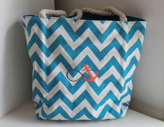 Blue & White Chevron Anchor Embroidered Tote Bag/ Beach Bag