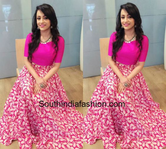 Trisha Krishnan in Long Skirt and Crop Top photo | indian wear ...