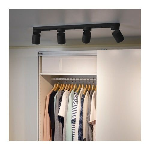 Nymane Ceiling Light With 4 Spotlights Anthracite Ikea Ceiling Spotlights Ceiling Lights Ikea