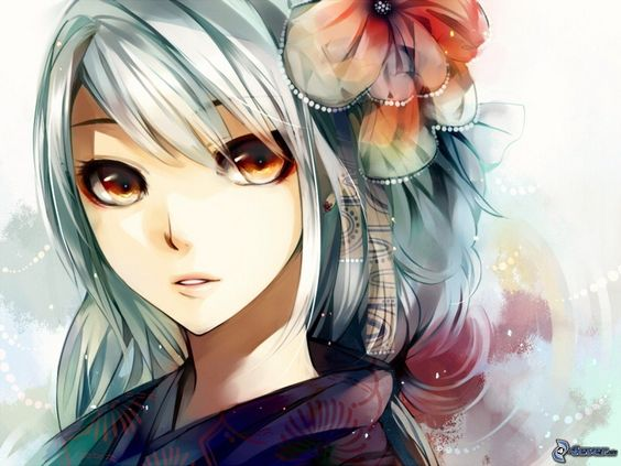 Chiết bông cài tóc màu tím rất dễ thương - Bộ hình ảnh hoạt hình anime dễ thương (phần 2)