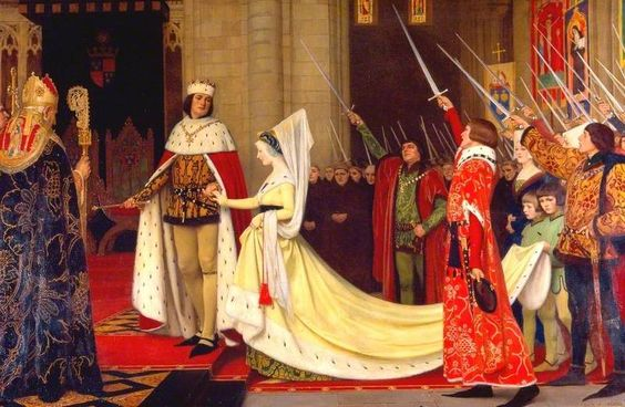"""""""King Edward IV and His Queen, Elizabeth Woodville at Reading Abbey, 1464"""" by Ernest Board. 1923"""