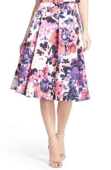 purple floral print midi skirt
