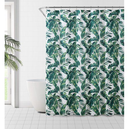 Mainstays Tropical Leaf Print Shower Curtain Walmart Com