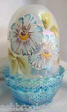 Fenton Art Glass Gold Decorated Flowers Celeste Blue Carnival Fairy Light Lamp