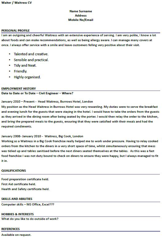 Modern Design Waitress Resume Example Resume Example Pinterest - resume examples for jobs with no experience