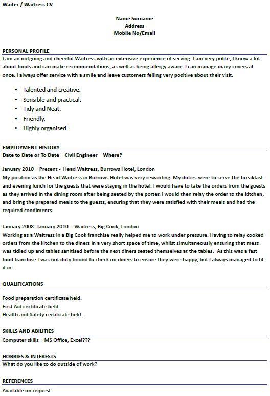 Waitress Resume Sample Cover Letters For Examples Waiter  Example Of Waitress Resume