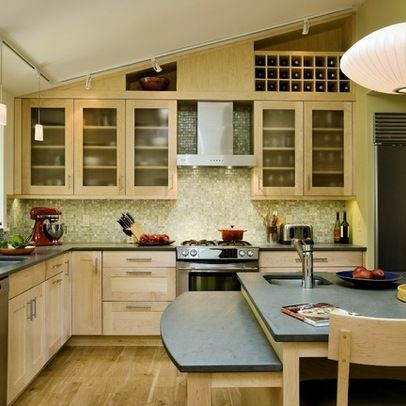 Ceiling design vaulted ceilings and above cabinets on for Vaulted ceiling kitchen designs