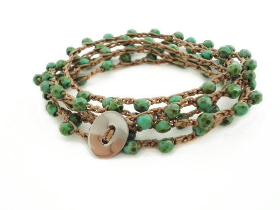 Turquoise Crochet Wrap Bracelet