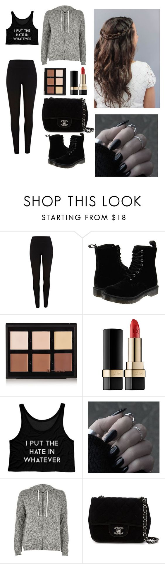 """""""i put the HATE in wHATEver"""" by cuteoutfits1755 ❤ liked on Polyvore featuring Dr. Martens, Anastasia Beverly Hills, Dolce&Gabbana, River Island and Chanel"""