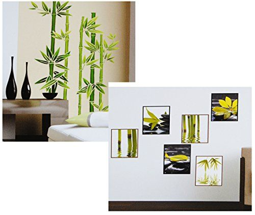 Wandtattoo \/ Sticker - Bambus Strauch \ Wellness SPA - Steine - wandtattoos für badezimmer
