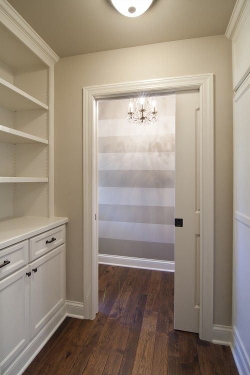 Striped walls hallways and houzz on pinterest for Clay beige benjamin moore paint