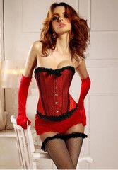 Burlesque Bows Strapless Corset With Red Ruffle Panties | Riot Girl Apparel