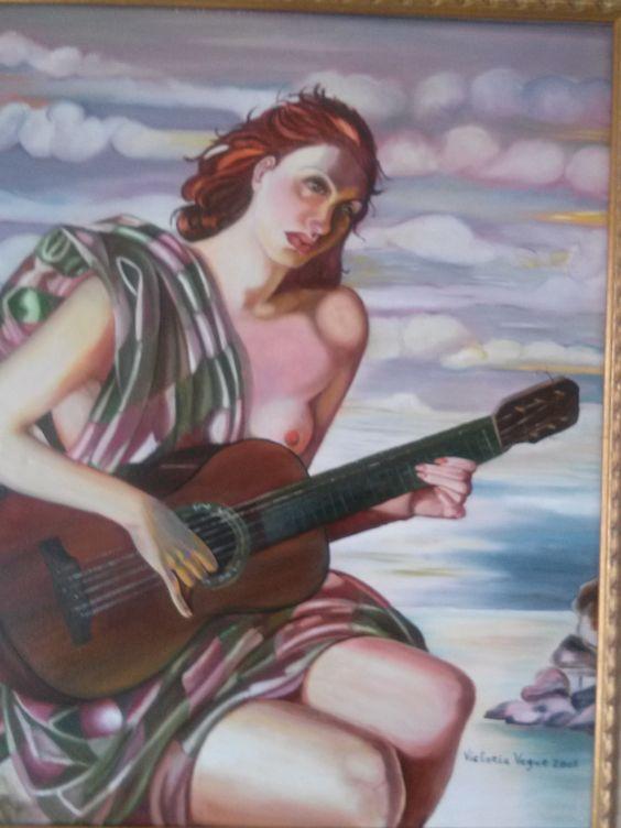 Mujer con guitarra. VENDIDO.
