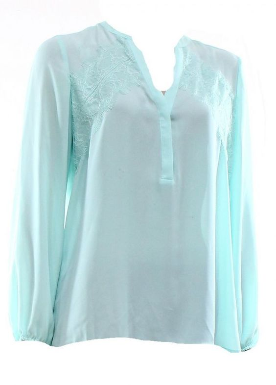 Alfani Alfani Mint Green Floral Lace Trim Split Neck Women's Size 8 Blouse