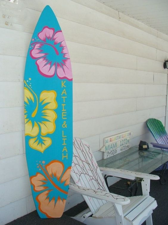 Surfboard Wall Art home decor: 6 foot wood hawaiian surfboard wall art decor or