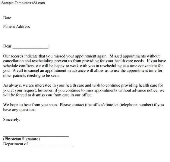 Missed Appointment Follow Letter Sample Templates Free  Home